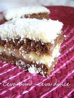 Adela Zilahi: Prajitura cu crema de budinca si cocos Sweets Recipes, Cake Recipes, Romanian Desserts, Croatian Recipes, Food Cakes, Vanilla Cake, Caramel, Deserts, Food And Drink