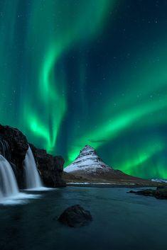 Aurora over Mount Kirkjufell and waterfall Kirkjufellsfoss, Iceland (by Oaky Isra on 500px)