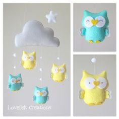 baby mobile owl mobile cloud mobile mint and yellow nursery Cloud Mobile, Felt Mobile, Mobile Mobile, Baby Crib Mobile, Baby Cribs, Baby Decor, Nursery Decor, Yellow Nursery, Baby Kind