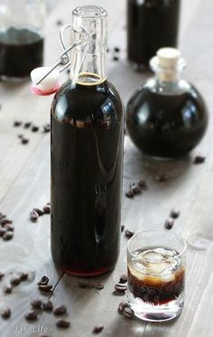 """I definitely recommend this Pin for DIY Homemade Kahlua! """"Beanilla's DIY Homemade Kahlua"""", """"Freshly Brewed Coffee Kahlua"""", and """"Need it Now Homemade Kahlua"""" Cocktails, Cocktail Drinks, Fun Drinks, Yummy Drinks, Alcoholic Drinks, Beverages, Homemade Kahlua, Homemade Alcohol, Homemade Liquor"""