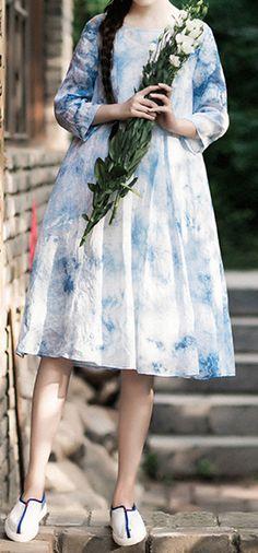 100% O-Neck Half Sleeve Summer Blue Print Dress Linen Dresses, Cotton Dresses, Blue Dresses, Summer Maxi, Casual Summer Dresses, Floral Plus Size Dresses, Summer Blouses, Cotton Blouses, Half Sleeves