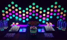 Wall design for glow party Glow Party, Glow In Dark Party, Neon Birthday, 13th Birthday Parties, Birthday Ideas, 14th Birthday, Girl Birthday, Sleepover Party, Slumber Parties