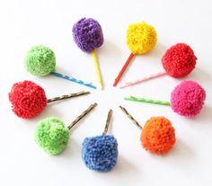 Girl's Pom Pom Bobby Pins, Colorful Pom Pom Hair Barrettes, Hair Accessories, Hair Clips, Hair Pins