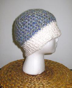 Crochet Beanie: mermaid & white