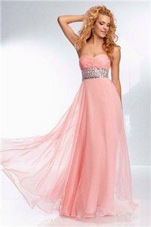 A-Line/Princess Strapless Sweetheart Floor-length Chiffon Prom Dress