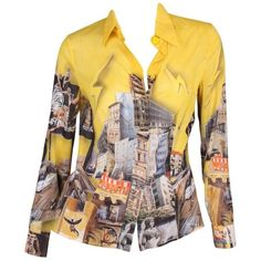 Preowned Versace & Tim Roeloffs Art Print Silk Blouse - Yellow ($303) ❤ liked on Polyvore featuring tops, blouses, yellow, sheer top, transparent blouse, sheer blouses, see through tops and long sheer blouse