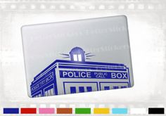 """Doctor Who police box tardis macbook decal, laptop sticker for notebook, Apple MacBook pro, air 13"""" and 15"""". also walls and glass on Etsy, $9.00"""