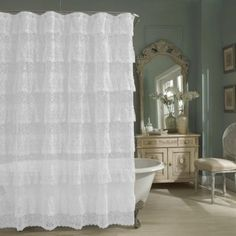 Sheer Lace Priscilla Ruffle Shower Curtain