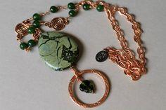African Green Breciated Jasper  Canadian Jade and Copper Eyeglass Lanyard