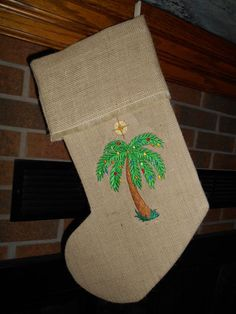 HANDMADE EMBROIDERED CHRISTMAS STOCKING- Christmas Palm Tree, Beach * FREE SHIP #ChristmasStocking #palmltreechristmasstocking #beach #palmtree