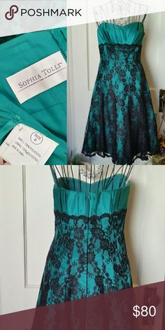 Sophia Tolli Strapless Cocktail Dress Gorgeous deep teal satin strapless dress with black lace overlay. Structured corset top. In great shape, only worn once. Sophia Tolli Dresses Strapless