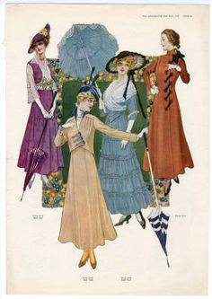 "1914-1920, Plate 107. Fashion plates, 1700-1955. The Costume Institute Fashion Plates. The Metropolitan Museum of Art, New York. Gift of Woodman Thompson (b17520939) | ""The Delineator for May, 1915"" #fashion"