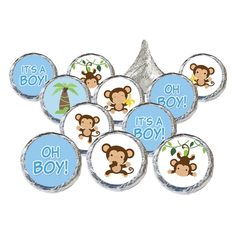 Boy Baby Shower - Oh Boy Monkey Stickers for Hershey Kisses (Set of 324)