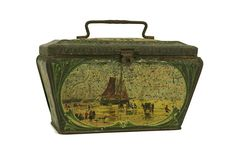 French Antique Tin Box with Sailing Boats Lithograph and