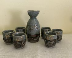 Vintage Somayaki Double Wall Crackle Ceramic 4 Cups Lot Green Gold Horse Japan