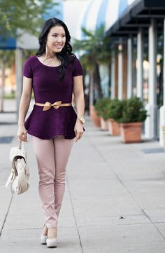 cute & little blog   purple peplum, gold bow belt, pink pants outfit #ootd