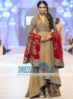 Long Shirt with Collar Neckline Sana Safinaz Churidar Bridal PFDC LOREAL 2014-2015 in UK