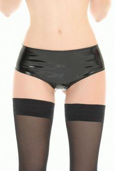 Vinyl Briefs Beatrice – Flirtywomen Shorty, Wet Look, Large Black, Sexy, Underwear, Bra, Collection, Swimwear, Briefs
