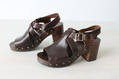 Chunky Heel Sandals / 1970s Sandals / by TheVintageMistress