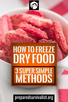 How To Freeze Dry Food - Prepared Survivalist How To Freeze Dry Food - the quickest way to freeze dry food is to use a freeze dry machine. These machines do cost a hefty amount but they do everything for you. Dried Peaches, Dried Apples, Dried Bananas, Freeze Dried Raspberries, Freeze Dried Fruit, Freeze Dried Meals, Emergency Food Supply, Dry Food Storage, Dried Vegetables