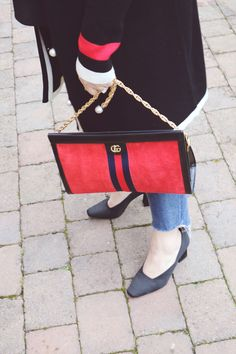 Gucci Ophidia hand bag in red suede, medium size, gold chain, patent leather trim. A great size that fits all that you would need. The medium size is brilliant as it has a longer chain, so you can wear it cross body to give it extra versatility. Black Court Shoes, Fendi, Gucci, White Trim, Pocket Detail, Distressed Denim, Miu Miu, Cross Body, Outfit Of The Day