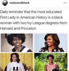 First Lady Michelle Obama is the most educated First Lady in American history with two Ivy League degrees from Harvard and Princeton. Intersectional Feminism, Badass Women, Equal Rights, Patriarchy, Women In History, Black History, Faith In Humanity, Black Power, History Facts