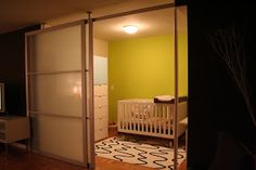 room divider using Stolmen poles and IKEA sliding doors