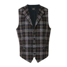 TAGLIATORE Dennis Prince of Wales Waistcoat (€205) ❤ liked on Polyvore featuring men's fashion, men's clothing, men's outerwear, men's vests, blue, mens blue vest and men's cotton vest