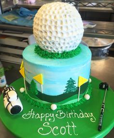 Golf ball- Cake # 038. Golf Ball Cake, Sports Themed Cakes, Birthday Cake, Desserts, Food, Birthday Cakes, Meal, Hoods, Dessert