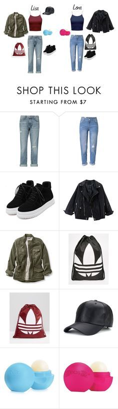 """Lisa and Lena"" by tery-horska ❤ liked on Polyvore featuring Current/Elliott, WithChic, L.L.Bean, adidas, Eos and plus size clothing"