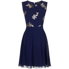 Little Mistress Navy Pleat Fit and Flare Dress ($95) ❤ liked on Polyvore featuring dresses, blue, floral dress, pleated chiffon dress, navy dress, navy floral dress y blue chiffon dress
