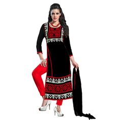 Buy Fabfiza Black Gerogette Semi Stitched Embroidered Dress Material by fabfiza, on Paytm, Price: Rs.1499?utm_medium=pintrest