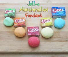 SO MANY- Jell-O Marshmallow Fondant . Has recipe also for her special fondant.  #decorating #dessert #flavoring #jello