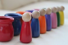 Playing House: Momma Made....Rainbow Peg People