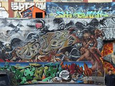 5Pointz Graffiti Centre, New York. - Angels and Demons collabo wall featuring artist CortesNyc