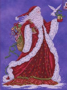 Joan Elliott Father Christmas - Cross Stitch Pattern. Stitched on 28 Ct. Midnight Mist/Magic from Polstitches with DMC floss, Kreinik #4 Braid, and Mill Hill Be