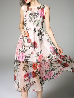 #AdoreWe #StyleWe Midi Dresses - Queen Mulock Silk Crew Neck Sleeveless Elegant Midi Dress - AdoreWe.com