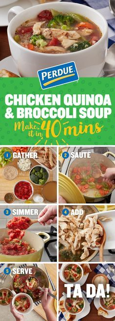 Try our simple superfood soup! In forty minutes you can make Chicken Quinoa and Broccoli Soup using PERDUE® SHORT CUTS® Carved Chicken Breast. Click through the pin for the full recipe.