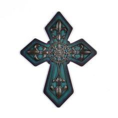 Teal Fleur-de-Lis Cross Plaque