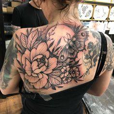 Nature vibes for Becky, thank you, strong session💪💪💪💪 - Nature vibes for Becky, thank you, strong session💪💪💪💪 - Backpiece Tattoo, Moth Tattoo, 1 Tattoo, Dot Work Tattoo, Lace Tattoo, Tattoo Black, Best Tattoos For Women, Back Tattoo Women, Sleeve Tattoos For Women