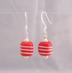 Unique Simple Earrings, Red and White Striped Square Glass Earrings