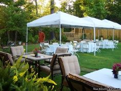 outdoor wedding reception able to get several tents for the yard so cute.  set around the pool.!