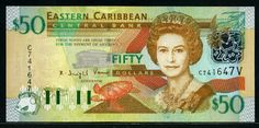 50 Eastern Caribbean Dollars banknote 2003. Obverse: Portrait of The Queen is based on a photograph by Peter Grugeon; Eastern Caribbean Central Bank building; turtle; Green-throated Carib. Reverse: A view of the British fort - Brimstone Hill Fortress National Park on the island of St. Kitts; A compass rose and Map of the Organization of Eastern Caribbean States; View of the twin peaks of Les Pitons Volcano - Petit Piton and Gros Piton near Soufriere in St. Lucia; Tropical Fish.