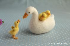 Needle Felted Swan Family
