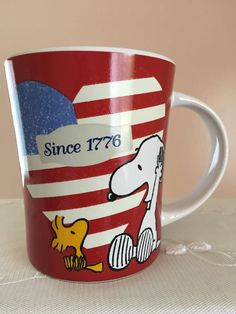 Peanuts Patriotic Snoopy Heart USA Flag Red White Blue Dog Lover Coffee Mug New in Collectibles, Decorative Collectibles, Mugs, Cups | eBay