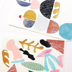 lechevaldelune:  paper collage//acrylic and watercolour.
