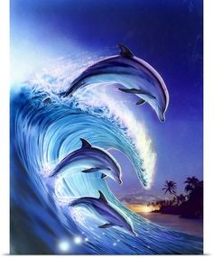 Robin Koni Solid-Faced Canvas Print Wall Art Print entitled Riding the Wave Dolphin Images, Dolphin Photos, Dolphin Painting, Dolphin Art, Photo Dauphin, Water Animals, Beautiful Nature Wallpaper, Wale, Water Element