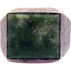 Handsome Vintage Connemara Marble Sterling Silver Gentleman's Ring -- found at www.rubylane.com #vintagebeginshere