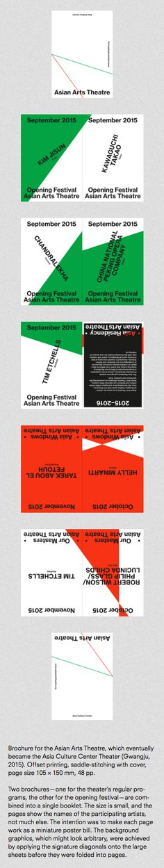 Brochure for the Asian Arts Theatre, which eventually became the Asia Culture Center Theater (Gwangju, 2015). Offset printing, saddle-stitching with cover, page size 105 x 150 mm, 48 pp. //  Two brochures — one for the theater's regular programs, the other for the opening festival — are combined into a single booklet. The size is small, and the pages show the names of the participating artists, not much else. The intention was to make each page work as a miniature poster bill. The background…