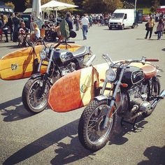 Two BMW airhead customs with surfboard racks
